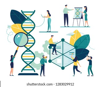 Vector illustration of nanotechnology, digital structure of dna, science concept - Vector