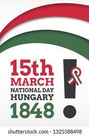 Vector illustration for the national day of hungary on march 15th. 1848 march 15 poster for Hungary's independence day.