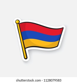 Vector illustration. National flag of Armenia on flagstaff. Location symbol for travelers. Sticker with contour. Decoration for patches, prints for clothes, badges. Isolated on white background