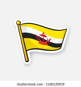 Vector illustration. National flag of Brunei on flagstaff. Location symbol for travelers. Sticker with contour. Decoration for patches, prints for clothes, badges. Isolated on white background