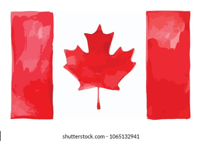 Vector illustration of national flag of Canada in watercolor style