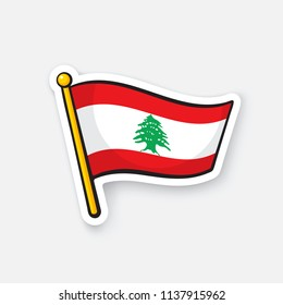 Vector illustration. National flag of Lebanon on flagstaff. Location symbol for travelers. Sticker with contour. Decoration for patches, prints for clothes, badges. Isolated on white background