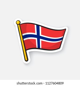 Vector illustration. National flag of Norway on flagstaff. Location symbol for travelers. Sticker with contour. Decoration for patches, prints for clothes, badges. Isolated on white background