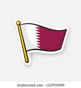 Vector illustration. National flag of Qatar on flagstaff. Location symbol for travelers. Sticker with contour. Decoration for patches, prints for clothes, badges. Isolated on white background