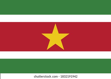 Vector Illustration of the National Flag of the Republic of Suriname