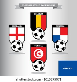 Vector illustration of national flag for soccer or football russian tournament championship, group G