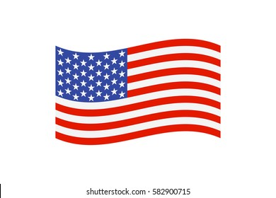 Vector illustration of the national flag of the United States of America on white background.