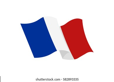 Vector illustration of the national France flag – the French Tricolor on white background.