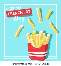 Vector illustration for National French Fries Day. Food banner, poster, card design