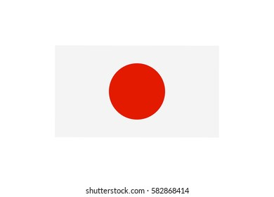 Vector illustration of the national Japan flag – white flag with a red disc in the center that symbolizes the Land of the Rising Sun.