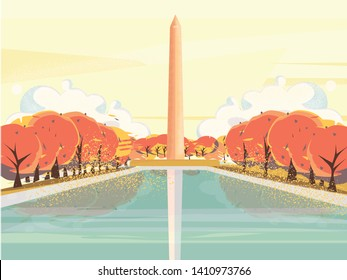 Vector illustration of National mall USA Washington DC monument in Autumn,Vector of late summer or autumn landscape of USA famous landmark.Image with noise and grainy texture.
