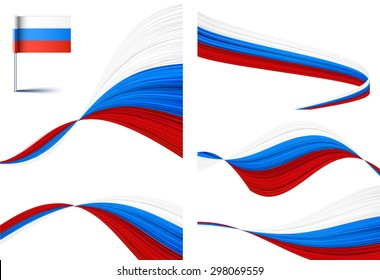 Vector illustration of national Russian flags.