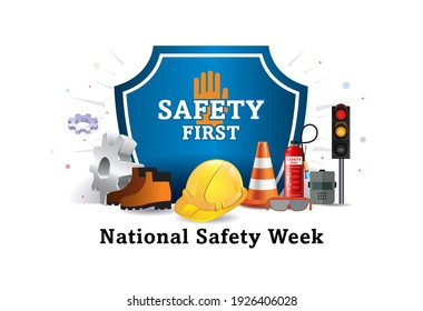 Vector illustration of National safety week and worker, employees safety awareness at working place