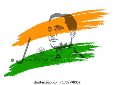 Vector Illustration of National Sports day which is celebrated on the birth anniversary of Major Dhyan Chand and flag in brush style