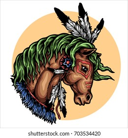 Vector illustration of native america horse head