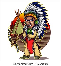 vector illustration of native american chieftain standing and smoking pipe with village camps background