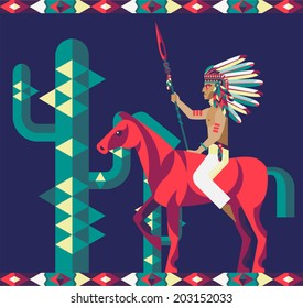 Vector illustration of a native American and horse.