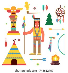 Vector illustration of a native american (indian)