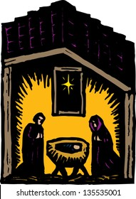 Vector illustration of Nativity scene