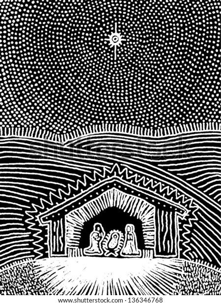 Vector illustration of the Nativity scene