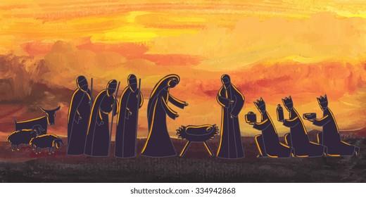 Vector illustration with nativity scene. Baby jesus born in Bethlehem.