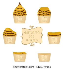 Vector illustration for natural banana ice cream on paper cup. Ice Cream pattern consisting of sweet cold icecream, set tasty frozen dessert. Fresh fruit icecreams of banana in paper bowls.