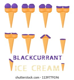 Vector illustration for natural blackcurrant ice cream on waffle cone. Ice Cream pattern consisting of sweet cold icecream, tasty frozen dessert. Fresh fruit icecreams of blackcurrant in wafer cones.