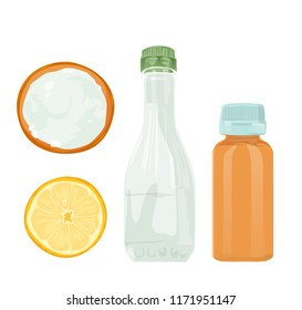 Vector illustration. Natural cleaning products are vinegar, baking soda, lemon, h2o2 hydrogen peroxide natural cleaning products
