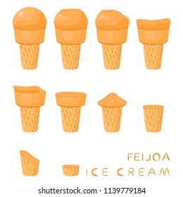 Vector illustration for natural feijoa ice cream on waffle cone. Ice Cream pattern consisting of sweet cold icecream, tasty frozen dessert. Fresh fruit icecreams of feijoa in wafer cones.