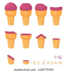 Vector illustration for natural fig ice cream on waffle cone. Ice Cream pattern consisting of sweet cold icecream, tasty frozen dessert. Fresh fruit icecreams of fig in wafer cones.