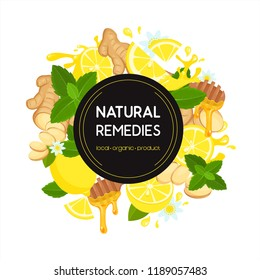 Vector illustration of natural home remedies with ginger root sliced, chamomile, lemon, honey dipper, wood stick, mint. Melting honey drops isolated on white background. Local organic medicine.