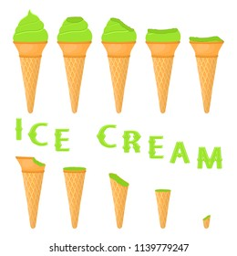 Vector illustration for natural lime ice cream on waffle cone. Ice Cream pattern consisting of sweet cold icecream, tasty frozen dessert. Fresh fruit icecreams of green lime in wafer cones.