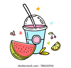 Vector illustration of natural milk shake in plastic cup takeaway with cup and straw. Creative beverage on white background with fruit. Line art flat style design for web, site, banner, menu, poster