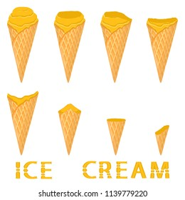 Vector illustration for natural papaya ice cream on waffle cone. Ice Cream pattern consisting of sweet cold icecream, tasty frozen dessert. Fresh fruit icecreams of papaya in wafer cones.
