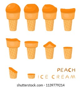 Vector illustration for natural peach ice cream on waffle cone. Ice Cream pattern consisting of sweet cold icecream, tasty frozen dessert. Fresh fruit icecreams of peach in wafer cones.