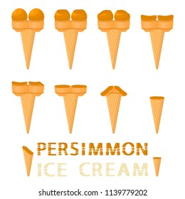Vector illustration for natural persimmon ice cream on waffle cone. Ice Cream pattern consisting of sweet cold icecream, tasty frozen dessert. Fresh fruit icecreams of persimmon in wafer cones.