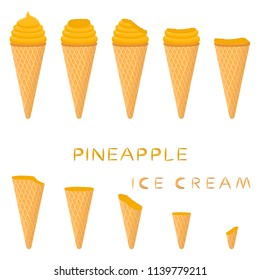 Vector illustration for natural pineapple ice cream on waffle cone. Ice Cream pattern consisting of sweet cold icecream, tasty frozen dessert. Fresh fruit icecreams of pineapple in wafer cones.