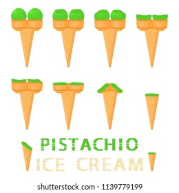 Vector illustration for natural pistachio ice cream on waffle cone. Ice Cream pattern consisting of sweet cold icecream, tasty frozen dessert. Fresh fruit icecreams of pistachio in wafer cones.