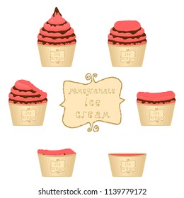 Vector illustration for natural pomegranate ice cream on paper cup. Ice Cream pattern consisting of sweet cold icecream, set tasty frozen dessert. Fresh fruit icecreams of pomegranate in paper bowls.