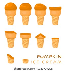 Vector illustration for natural pumpkin ice cream on waffle cone. Ice Cream pattern consisting of sweet cold icecream, tasty frozen dessert. Fresh fruit icecreams of pumpkin in wafer cones.