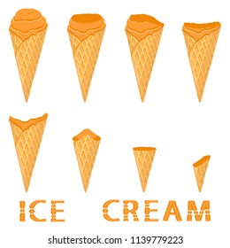 Vector illustration for natural sea buckthorn ice cream on waffle cone. Ice Cream pattern consisting of sweet cold icecream, tasty frozen dessert. Fresh fruit icecreams of buckthorn in wafer cones.