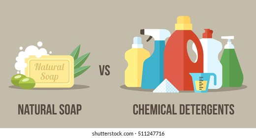 Vector illustration of natural soap vs. chemical detergents. Healthy and natural household cleaning concept. Flat style.