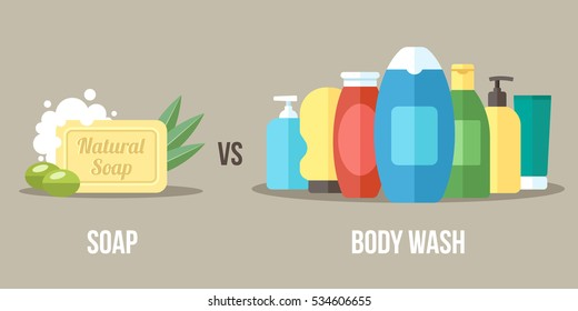 Vector illustration of natural soap vs. chemical body wash. Healthy and natural body care concept. Flat style.