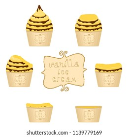 Vector illustration for natural vanilla ice cream on paper cup. Ice Cream pattern consisting of sweet cold icecream, set tasty frozen dessert. Fresh fruit icecreams of vanilla in paper bowls.