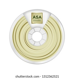 Vector illustration of natural white and yellow asa filament for 3D printing wounded on the spool with a name ASA. Plastic material for a 3D printer – Acrylonitrile styrene acrylate isolated on white