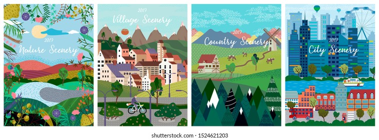 Vector illustration of Nature, country, city landscapes, village. Natural background , urban and rustic banner card,  brochure, poster or cover