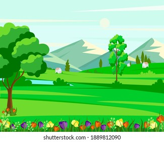 Vector illustration of nature with houses and trees.