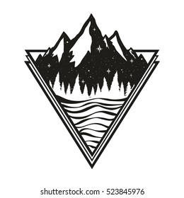 Vector illustration with nature landscape - mountains, pine forest, stars and lake. Trendy  black and white print design