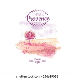 Vector illustration of nature in the Provencal style. Watercolor picture of a tree in a field of delicate pink colors.