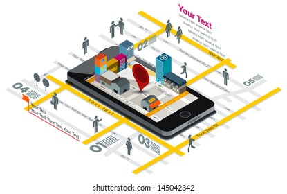 Vector illustration of navigation map and building on Smart phone screen, Smartphone with map,